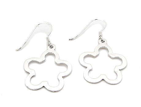 Medium Sterling Silver Open Flower Shape Hook Earrings - Silver Insanity