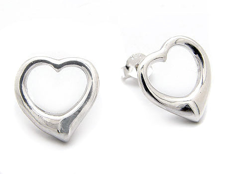 Curved Puffed Heart Earrings Post Studs in Sterling Silver - Silver Insanity
