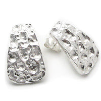 Curved Hammered Finish Sterling Silver Post Stud Earrings - Silver Insanity