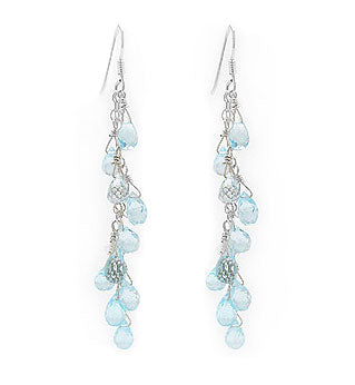 Blue Topaz Beaded Gemstone Sterling Silver Earrings - Silver Insanity