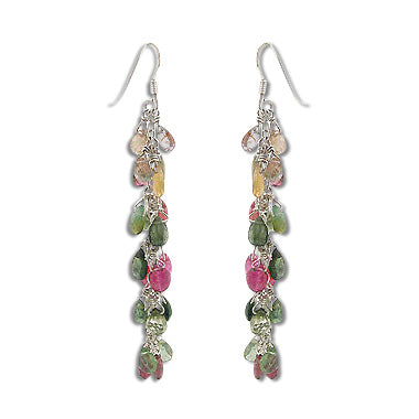 Natural Tourmaline Briolette Gemstones - Dangling Chain Sterling Silver Earrings