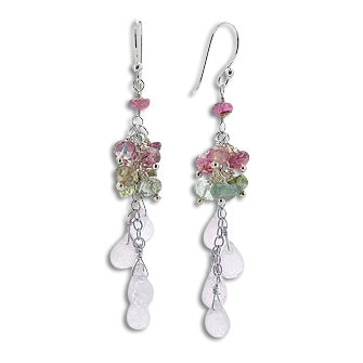 Natural Rainbow Moonstone and Tourmaline Sterling Silver Beaded Chain Earrings - Silver Insanity