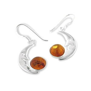 Genuine Amber and Man in the Moon Face Crescent Sterling Silver Earrings - Silver Insanity