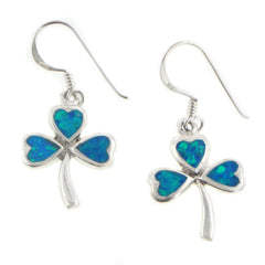 Blue Opal Shamrock or Clover Sterling Silver Earrings - Silver Insanity