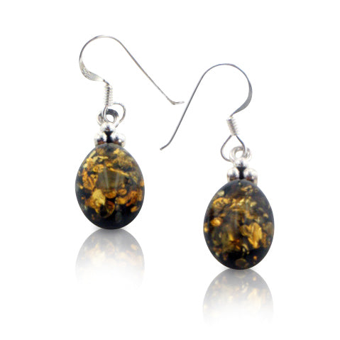 Simple Oval Baltic Amber Sterling Silver Hook Earrings - Silver Insanity