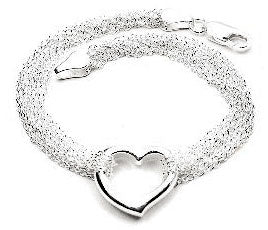 "Sterling Silver Multi Strand Chain and Open Heart Bracelet - 7.5"" - Silver Insanity"