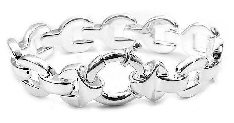 2089cc64e239d Bold Sterling Silver Oval Panther Link Chain 7.5