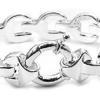 "Bold Sterling Silver Oval Panther Link Chain 7.5"" Bracelet - Silver Insanity"