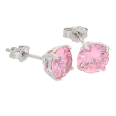 7mm Sterling Silver Pink Ice Round CZ Stud Post Earrings - Silver Insanity