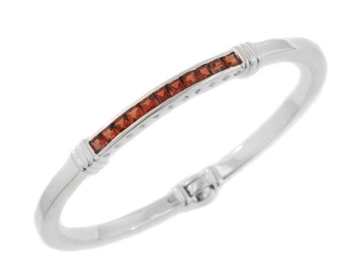 Channel Genuine Garnet Sterling Silver Bangle Bracelet - Silver Insanity
