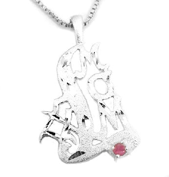 "#1 MOM Genuine Ruby Diamond-Cut Charm Pendant on 18"" Necklace - Silver Insanity"