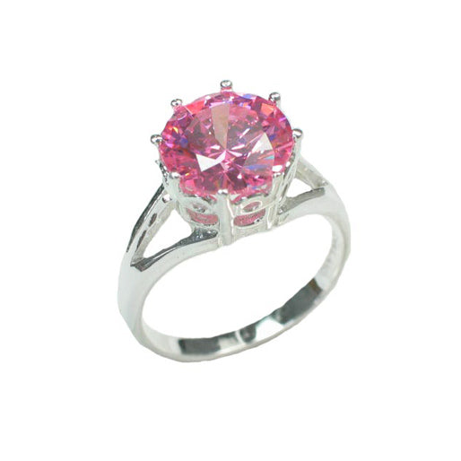 Bright Pink Ice CZ Solitaire 10mm Round Sterling Silver Engagement Ring - Silver Insanity