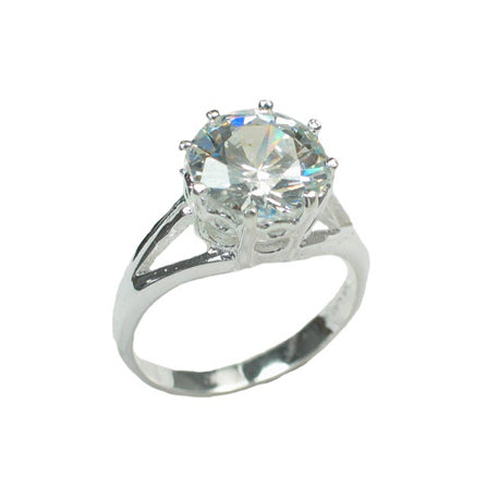 Brilliant White CZ Solitaire 10mm Round Sterling Silver Engagement Ring