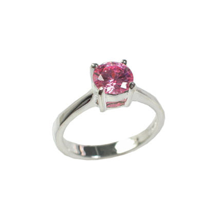 Brilliant Pink CZ Solitaire 6mm Round Sterling Silver Engagement Ring - Silver Insanity