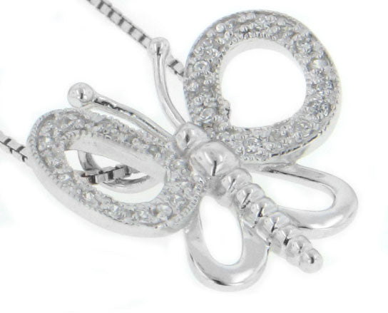 Sterling Silver Rhodium CZ Butterfly Pendant Necklace - Silver Insanity