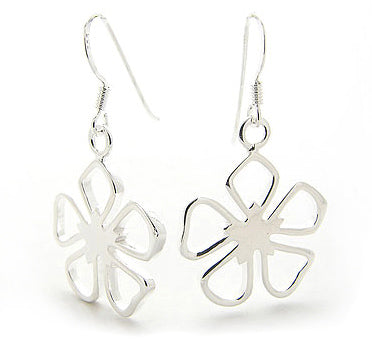 Dangling Open 5-Petal Sterling Silver Flower Hook Earrings