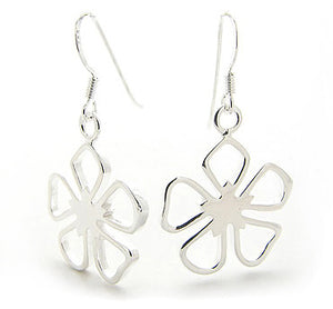 Dangling Open 5-Petal Sterling Silver Flower Hook Earrings - Silver Insanity