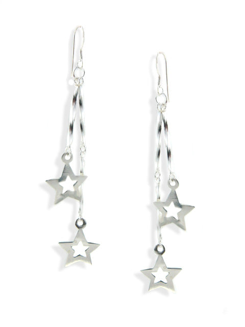 Sterling Silver Twisted Bar Stick and Star Drop Earrings - Silver Insanity