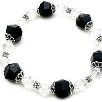 Classic Black and White Lucite Bicone Bead Stretch Fashion Bracelet - Silver Insanity