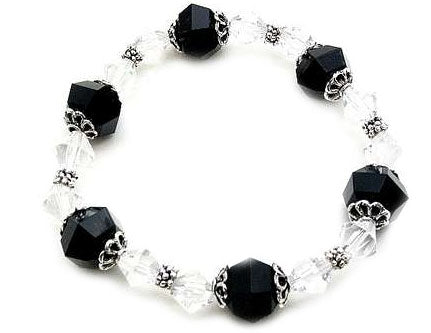Classic Black and White Lucite Bicone Bead Stretch Fashion Bracelet