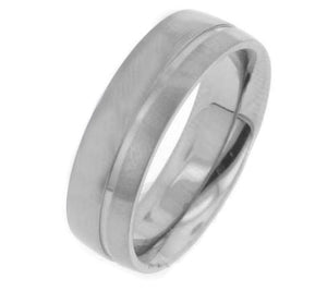 Mens Solar Flare Titanium Wedding Band Ring - Silver Insanity