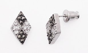 Marcasite w/ Pave CZ Sterling Silver Post Stud Earrings - Silver Insanity