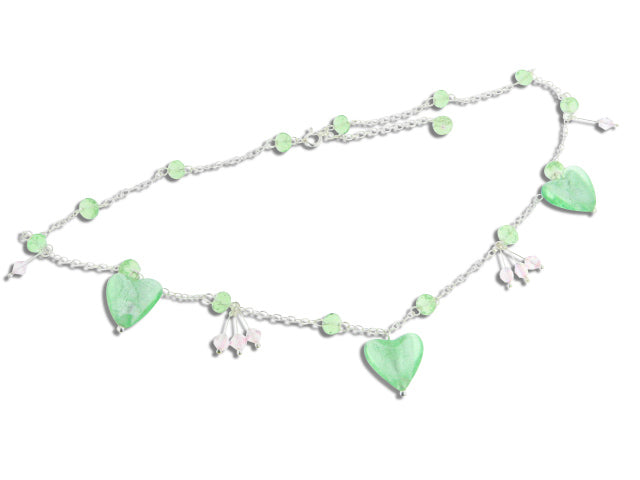 "Sterling Silver Green Heart Foil Glass Beaded Necklace 16"" - 18"" - Silver Insanity"