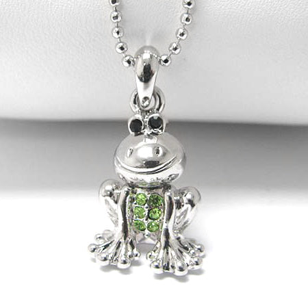 "Curious Frog with Green Crystals Childs Pendant 15"" Necklace"
