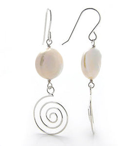 Spiral Sterling Silver Earrings with 12mm Coin Cultured Freshwater Pearls - Silver Insanity