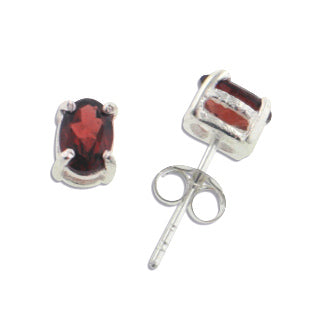 4x6mm Oval Genuine Red Garnet Sterling Silver Post Stud Earrings