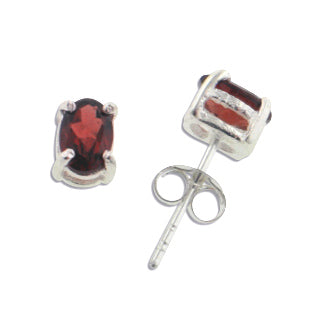 5x7mm Oval Red Garnet Post Stud Sterling Silver Earrings
