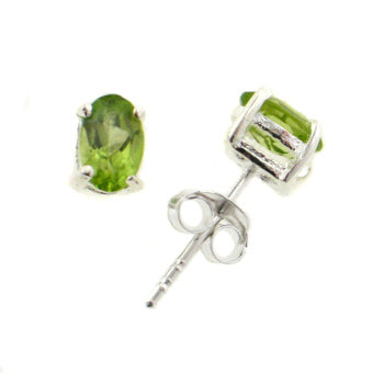 Genuine 4x6mm Oval Cut Peridot Sterling Silver Post Stud Earrings - Silver Insanity