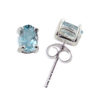 Small Studs 4x6mm Oval Genuine Sky Blue Topaz Sterling Silver Post Earrings - Silver Insanity