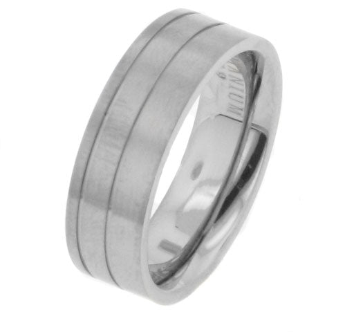 Mens Gemini Style Titanium Wedding Band Ring - Silver Insanity