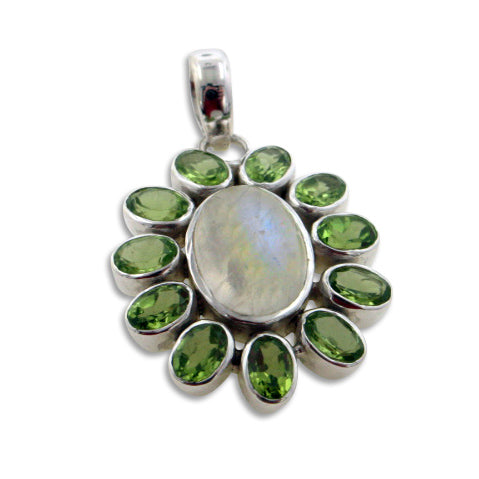 Green Flower - Genuine Rainbow Moonstone and Peridot Sterling Silver Pendant