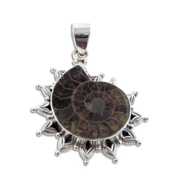 Large Ammonite Fossil Seashell set in Sterling Silver Pendant