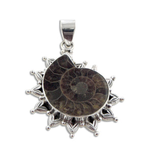 Large Ammonite Fossil Seashell set in Sterling Silver Pendant - Silver Insanity
