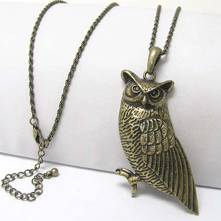 "Antiqued Gold Large Owl Guardian on Tree Antiqued Pendant Long 30"" Necklace"