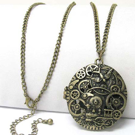 "Steampunk Gears Train Scent Locket Pendant 30"" Necklace - Silver Insanity"