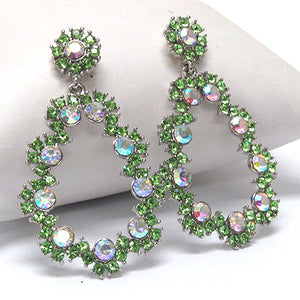 Large 60's Antique Style Green Crystal Flower Dangle Post Earrings - Silver Insanity