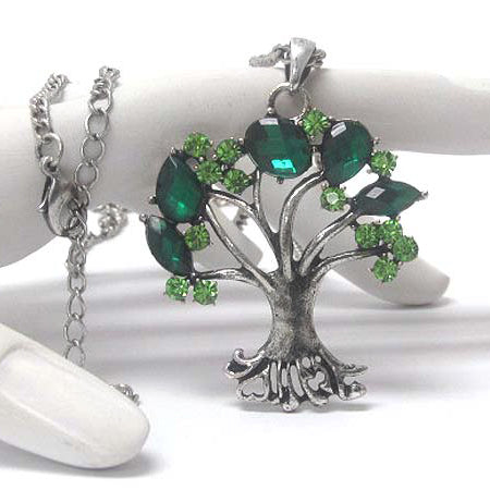 Springtime Tree with Green Crystal Leaves Pendant Adjustable Silvertone Necklace