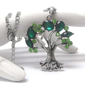 Springtime Tree with Green Crystal Leaves Pendant Adjustable Silvertone Necklace - Silver Insanity