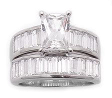 Sterling Silver 2.75ct CZ Wedding Band Ring Set - Silver Insanity