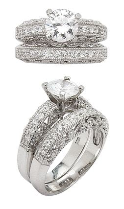 Sterling Silver Wedding Band Ring Set 6mm CZ - Silver Insanity