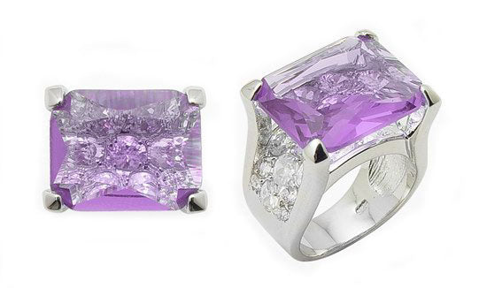 19.8ct Emerald-Cut Lavender CZ Sterling Silver Ring - Silver Insanity