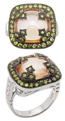 Sterling Silver Orange Cabachon Green CZ Ring Size 8 - Silver Insanity