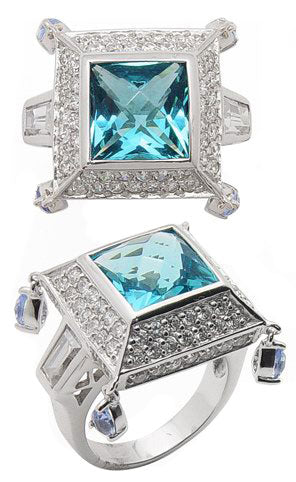 Sterling Silver 10mm Square Blue CZ Pyramid Ring Size 6 - Silver Insanity