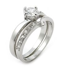 Sterling Silver Solitaire Wedding Ring Band Set