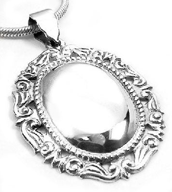 Engraveable Ornate Framed Oval Sterling Silver Christmas Ornament Pendant - Silver Insanity