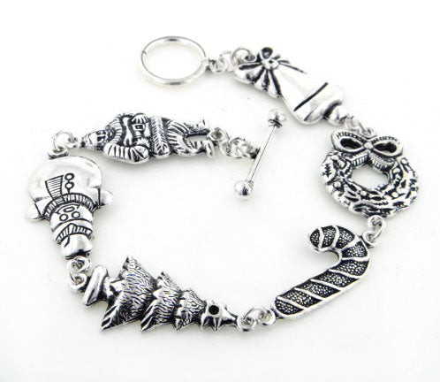 "Sterling Silver Santa, Snowman, Tree, Christmas Toggle Bracelet 8"" Long - Silver Insanity"